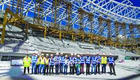 Local experts from Qatar and FIFA staff during their visit to one of the World Cup stadiums.