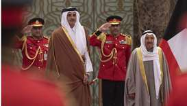His Highness the Amir Sheikh Tamim bin Hamad Al-Thani accompanied by Amir of Kuwait Sheikh Sabah Al-