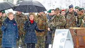 German Minister of Defence Ursula von der Leyen and Lithuanian President Dalia Grybauskaite