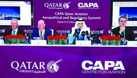 Akbar al-Baker, IATA director-general and CEO Alexandre de Juniac, Harbison and European Commission