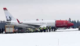a Norwegian Air Shuttle plane on the tarmac at Arlanda Airport in Stockholm, where it returned safel