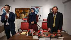 Hatice Cengiz (C), partner of late Jamal Khashoggi, attends the presentation of her book dedicated t