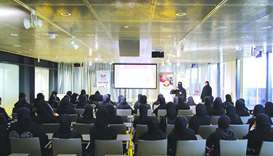 High school students attending the internet safety workshop