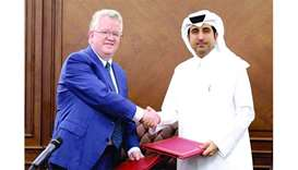 QFC Regulatory Authority CEO Michael G Ryan and Qatar Chamber director general Saleh bin Hamad al-Sh