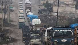 A view of the trucks carrying belongings of displaced Syrians, in northern Idlib, Syria January 30