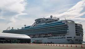 The Diamond Princess cruise ship, with around 3,600 people quarantined onboard due to fears of the d
