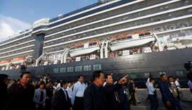 Cambodia's Prime Minister Hun Sen welcomes passenger of MS Westerdam