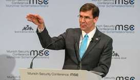 US Secretary for Defence Mark Esper adresses the audience on the podium during the 56th Munich Secur
