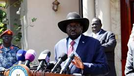 South Sudan's President Salva Kiir Mayardit speaks during a news statement with Riek Machar, former