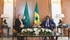 US Secretary of State Mike Pompeo meets with Senegalese President Macky Sall at the presidential pal