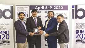Shakeel Ahmed Khan (second left) with IBD directors Vineet C Nambiar, Shamseer Hamza, and Leonardo.