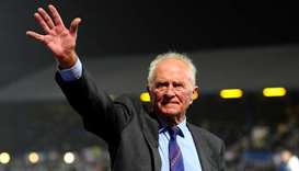 Harry Gregg waves to the crowd during UEFA Euro 2012 Qualifying Group C match between Northern Irela