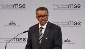 World Health Organization (WHO) Director-General Tedros Adhanom Ghebreyesus adresses the audience an
