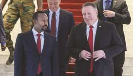 US Secretary of State Mike Pompeo walks with Ethiopian Prime Minister Abiy Ahmed at the prime minist