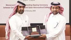 QU President Dr Hassan al-Derham and HE the Director General of Qatar Aeronautical College Sheikh Ja