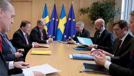 Swedish Prime Minister Stefan Lofven meets with European Council President Charles Michel on the sid