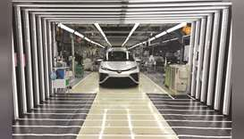 A Toyota Mirai fuel cell vehicle awaits final inspection at a Toyota Motor factory in Aichi Prefectu