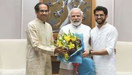 Maharashtra Chief Minister Uddhav Thackeray and Tourism and Environment Minister Aaditya Thackeray c