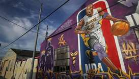 A mural depicting deceased NBA star Kobe Bryant and his 13-year-old daughter Gianna