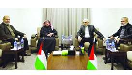 HE the Chairman of Qatar's Gaza Reconstruction Committee, ambassador Mohamed al-Emadi, meeting Hamas