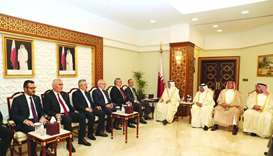 HE the Speaker of the Shura Council Ahmed bin Abdullah bin Zaid al-Mahmoud with the delegation of Tu