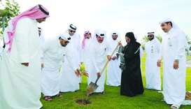 MME officials and CMC member Sheikha al-Jufairi taking part in the campaign