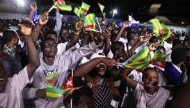 Supporters of President Faure Gnassingbe ,Presidential candidate of UNIR (Union for the Republic) an