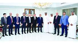 Qatar Chamber first vice chairman Mohamed bin Towar al-Kuwari and the chairman of the Turkish-Qatari