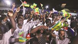 Supporters of President Faure Gnassingbe, presidential candidate of Union for the Republic (UNIR) an