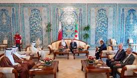 His Highness the Amir Sheikh Tamim bin Hamad Al-Thani and the President of the People's Democratic R