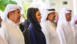 His Highness the Father Amir Sheikh Hamad bin Khalifa al-Thani and Her Highness Sheikha Moza bint Na