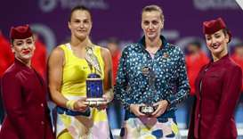 Sabalenka blows past Kvitova to win Qatar title