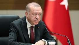 Turkish President Tayyip Erdogan speaks during a news conference in Istanbul, Turkey