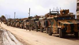 A Turkish military convoy is pictured in the village of al-Mastumah, about seven kilometres south of