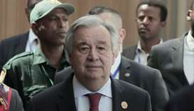 United Nations Secretary-General Antonio Guterres arrives for a news conference in Addis Ababa, Ethi