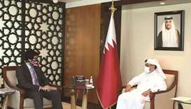 HE the Minister of Commerce and Industry Ali bin Ahmed al-Kuwari meets with UK Minister for Internat