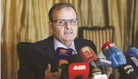 Abdul Rahman al-Bizri, head of Lebanon's Covid-19 vaccination committee, talks during a press confer