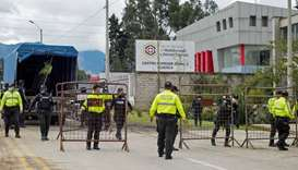 Police set up barricades outside the offices of the Forensic Medicine and Forensic Science institute
