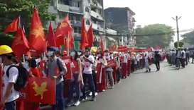 Protesters demonstrate against the military coup in Yangon, Myanmar