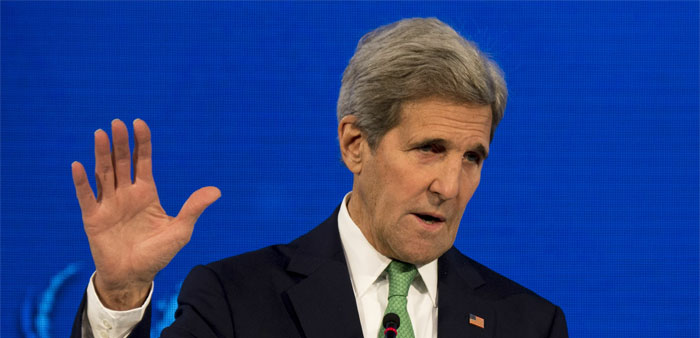 """US Secretary of State John Kerry delivers a speech at the """"Our Ocean"""" meeting in Vina del Mar, Chile"""