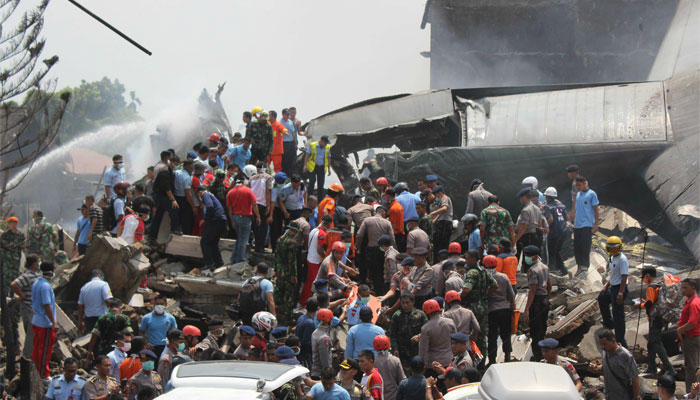 45 dead after Indonesian military plane crashes into city