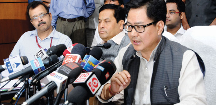 Federal Minister of State for Home Affairs Kiren Rijiju addresses a press conference in Guwahati.
