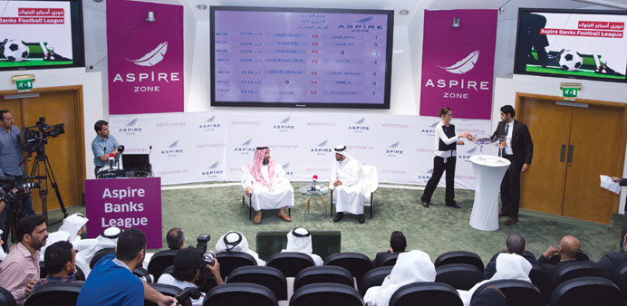 Picture of the draw ceremony for the Aspire Banks Football League.