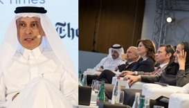 Akbar al-Baker addresses the audience on the unique features and aspects of Hamad International Airp
