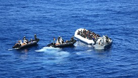 Dinghies of German Navy transporting some of the 615 rescued migrants
