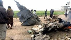 The wreckage of an Iraqi Air Force plane