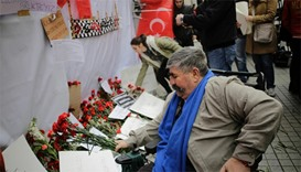 Carnations at the scene of a suicide bombing at Istiklal street, Istanbul