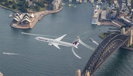 Qatar Airways inaugural flight from Doha to Sydney flies over the famous Opera House before touching