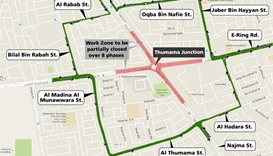 Temporary traffic diversion at Al Thumama Junction