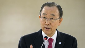 Ban Ki-Moon delivers a speech during a conference of the United Nations High Commissioner for Refuge